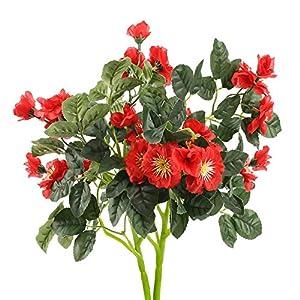 HUAESIN 2pcs Flores Arttificiales Amapolas Rojas Flores de Plastico Falsa Arbusto Artificial Decorativas para Jarrones…