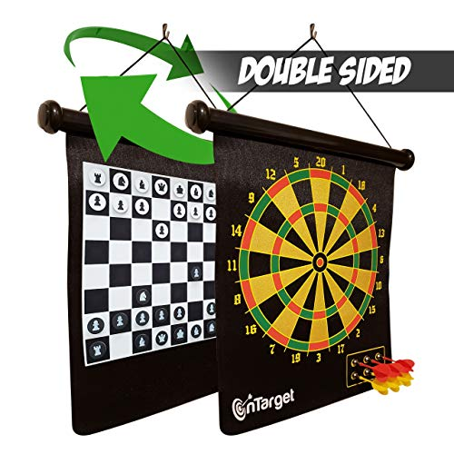 OnTarget Magnetic Dart Board for Kids  Indoor or Outdoor 3in1 Games Teens Adults 6 Darts Magnetic Checkers amp Chess Set