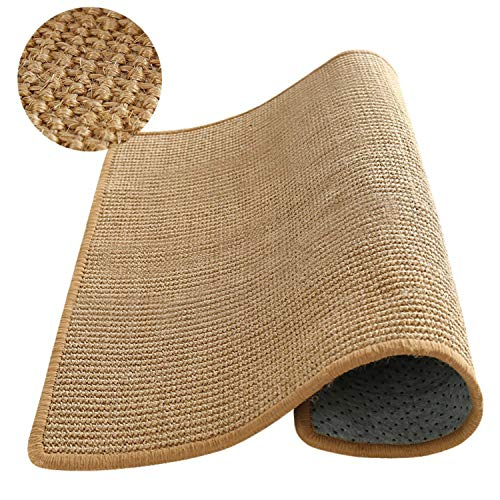 Natur Sisal Teppich - Kratzmatte Anti-Rutsch Teppich für Katzen Kratzklauen und Schlafen im Wohnzimmer, Schlafzimmer, Küche Natur Bordüre - 70 x 100 cm