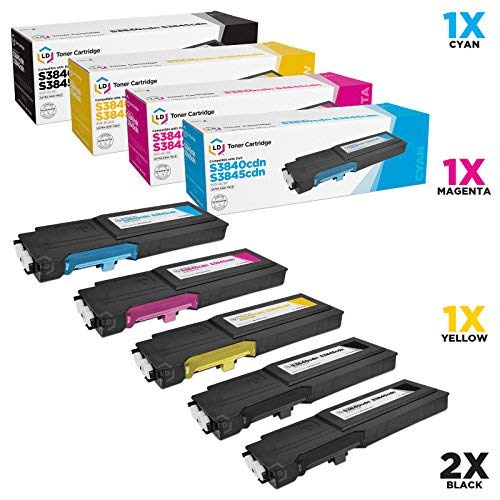 LD Compatible Toner Cartridge Replacement for Dell Color Laser S3840cdn & S3845cdn Extra High Yield (2 Black, 1 Cyan, 1 Magenta, 1 Yellow, 5-Pack)