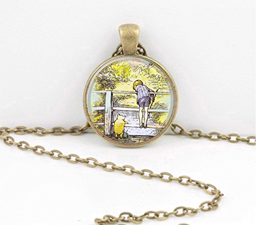 Winnie-the-Pooh Christopher Robin Pooh Sticks Pendant Necklace Inspiration Jewelry or Key Ring
