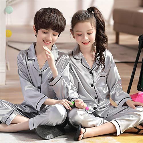 LDGG Conjunto de Pijamas para Niños Conjunto de Pijamas de Satén de Seda para Niños Y Niñas Ropa de Dormir de Manga Larga para 10-16 Años