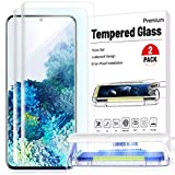 2 Pack-Galaxy S20 5G Screen Protector Glass Auto-Disperse UV Gel [Designed for Ultrasonic Fingerprint] Full HD Clear 3D Curved Edge Tempered Glass Screen Protector for Samsung Galaxy S20 5G (2020)-Easy Install Kit