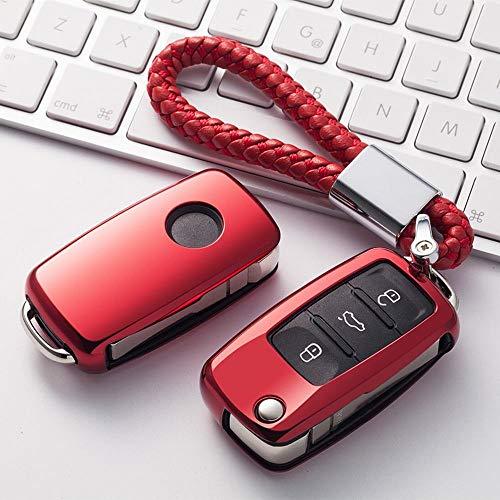 YABAISHI voor Volkswagen Key Fob Cover, Premium Soft TPU, 360 graden, volledige bescherming voor sleutelbehuizing, compatibel met Skoda Superb Skoda Fabia Rapide, Spaceback klasse zonder sleutel, Smart Key