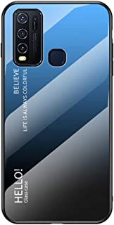 """MOONCASE の Vivo Y50 ケース、ソフト超薄型TPU + 透明ガラス + グラデーションカラーパターン アンチ指紋 引っかき傷に強い 耐衝撃性、に適し Vivo Y50 6.53"""" - 青黒"""