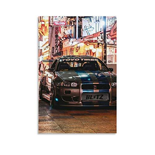 HULANG Nissan Skyline GTR R34 JDM Leinwand Kunst Poster und Wandkunst Bilddruck Moderne Familienzimmer Dekor Poster 12x18inch(30x45cm)