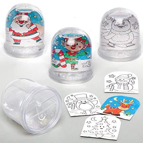 Baker Ross AX490 Weihnachtliche Schneekugeln zum Ausmalen Bastelset für Kinder - 4 Stück, Festliche Kreativsets und Bastelbedarf zum Basteln und Dekorieren zur Weihnachtszeit