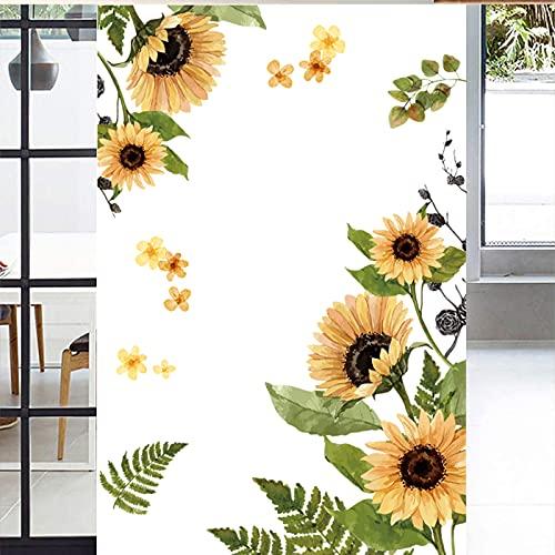 Pegatinas de Pared Girasol,Flores de Jardín Adhesivos Pared(105×83cm),alcomanías de Pared de Plantas Verdes para Dormitorio, Sala de Estar, Comedor, Pared de Fondo de Tv Etc
