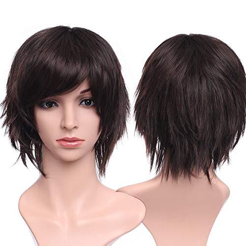 Silk-co 4.5 pulgadas Vogue mujeres señoras peluca corta natural capas ondulado rizado marrón oscuro Auburn Mix pelo peluca completa para las mujeres fiesta diaria