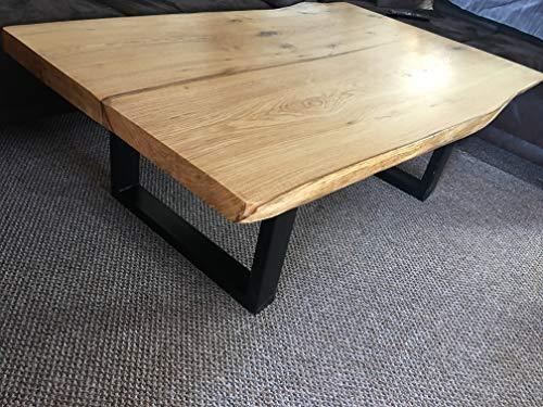 KJR Holzmanufaktur Couchtisch, Tisch, massiv und rustikal, Eiche, Eichenbohle, ca. 140x80-90 cm