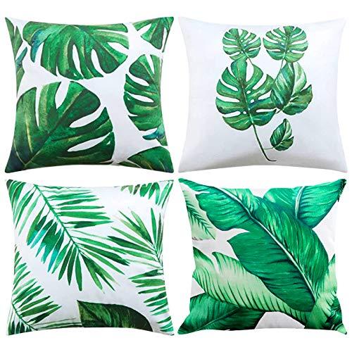 4 pezzi Fodere per cuscini Foglie verdi, Fodere per cuscini in cotone e lino Foglie tropicali Fodere per cuscini decorativi foresta pluviale tropicale di palma per casa Camera da letto feste interne