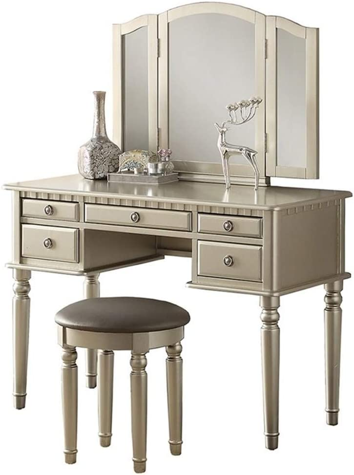 Max 76% OFF Bobkona Very popular! F4079 St. Croix Collection Set Silver Stool with Vanity
