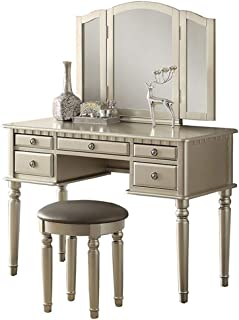 Bobkona F4079 St. Croix Collection Vanity Set with Stool, Silver