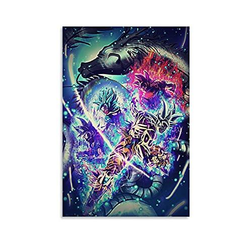 Poster Dragon Ball Z Super Dbz Poster décoratif sur toile pour salon, chambre à coucher 20 x 30 cm