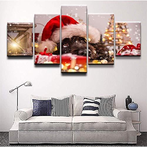 Relovsk Wandbilder 5 aufeinanderfolgende Gemälde 5 Stück Hund mit Weihnachtsmütze Bild Leinwandbilder Gemälde Schlafzimmer Dekor Tier Niedlich Poster_40x60cmx2 40x80cmx2 40x100cmx1
