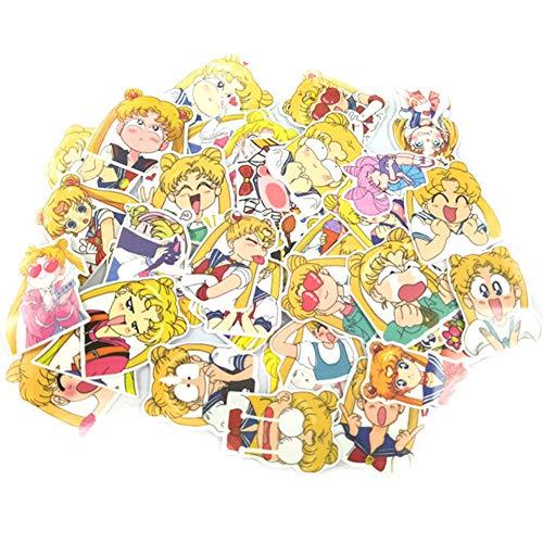 Haushele OFD Anime Aufkleber Koffer Gitarre Telefon Aufkleber Skateboard Aufkleber Naruto Mein Held Akademie Sailor Moon Nette Katze Doodle Aufkleber(40 Stück Sailor Moon)