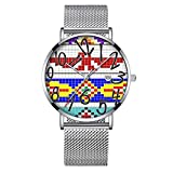 Minimalista moda da polso al quarzo Elite ultra sottile impermeabile orologio sportivo con data con mesh Band 348.tribal Patterns, Geometric, Indian, Native, etnico