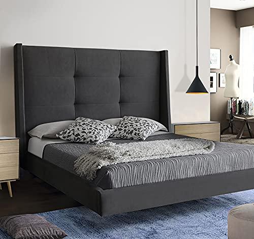 LA WEB DEL COLCHON - Cabecero Tapizado Dalice para Cama de 220 (240 x 120 cms) Gris Oscuro Textil Suave