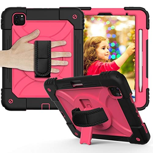 LESLEY LM For Shockproof PC + Silicone Combination Case with Holder & Hand Strap & Shoulder strap iPad Pro 11 (2020) 2021 NEW MODEL (Color : Black+Rose Red)