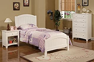 Poundex Contemporary White Finish Kids Twin Bed