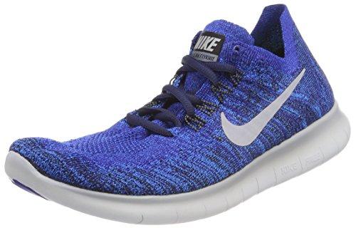 Nike Free RN Flyknit 2017, Zapatillas de Running Hombre, Azul (Binary Blue/White/Mega Blue/Wolf Grey), 40.5 EU