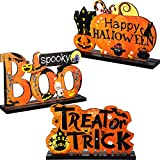 Blulu 3 Happy Halloween Table Decorations, Pumpkin Table Centerpieces Boo Sign Wooden Candy Day for Halloween Party Dinner Coffee Table Topper Tier Tray Room Decor, 7.87 x 4.72 Inch