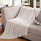 Cotton Cable Knit Throw Blanket–Luxury All Season, Soft, Warm, Home Decorative, Knitted Blankets 51 x 70 Inch for Couch Sofa Chairs Bed