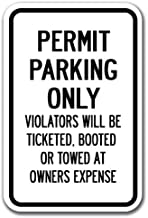 Permit Parking Only Violators Will Be Ticketed, Booted Or Towed Sign 12