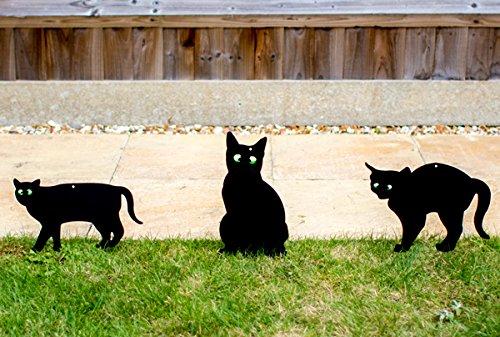 Pestbye Set de 3 Siluetas de Gatos Ahuyentadores con Ojos en Relieve,...