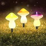 showyow Luz Solar para Exteriores, lámpara de Setas para jardín, luz Decorativa para Setas, luz Nocturna para jardín, para decoración de Fiestas en el jardín, Blanco cálido