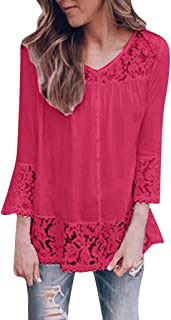 Sayhi Women Fashion Lace Print Hollow Out Blouse O-Neck Solid Casual T-Shirt Tops Autumn Loose Pullover