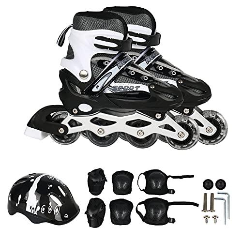 Pattini in linea con dimensioni regolabili, pattini a rotelle con ruote illuminate, rollerblade con attrezzatura di protezione per adulti e bambini principianti (L)