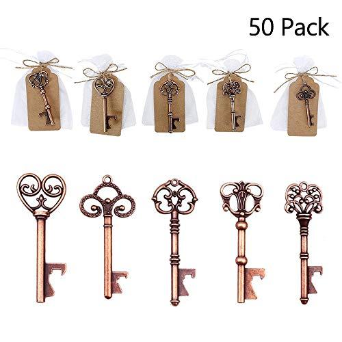 Vibury Pack de 50 Llave Abrebotellas, Decoración de Bolsas de Recuerdos de Boda, Estilo Vintage, para Invitados o Regalos de Fiesta, 5 Estilos
