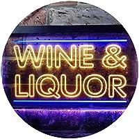 Wine & Liquor Bar Dual Color LED看板 ネオンプレート サイン 標識 青色 + 黄色 400 x 300mm st6s43-i0405-by