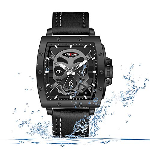 F-XDD Fashion Mechanische Uhren, Trend Herren-Schädel-Kopf-einzigartiger Entwurfs-Platz Große Vorwahlknopf-wasserdichte Edelstahl-Leder-Uhr,Schwarz