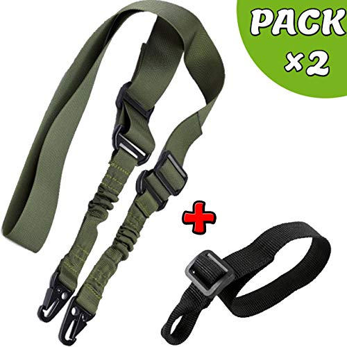 RimFly Adjustable Airsoft Strap for Rifle Pack 2 Tactical Point Sling 2 Point Multipurpose Weapons Paintball Rope Strap Paracord Elastic Shoulder System Hunting and Outdoor Sports