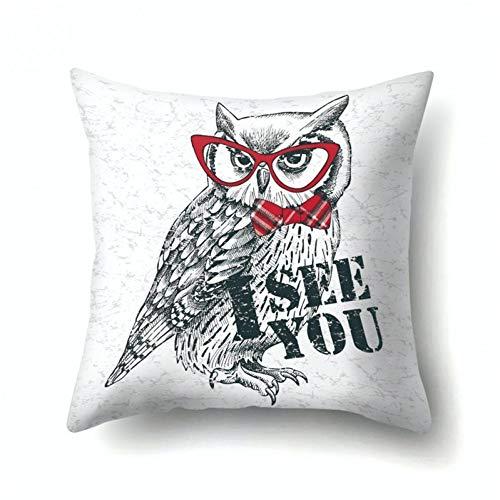 YIERJIU Funny animal pug dog owl cat pillow cushion cover pillow covers polyester cute sofa car decor pillow,O