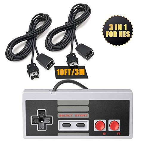 NES Classic Controller Extension Cable - 2 Pack of 10ft Extension Cord with Mini NES Classic Controller- for SNES Classic 2017, NES Classic 2016, Wii, Wii U Controllers and More