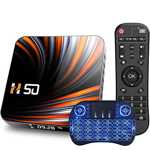 GEQWE Android TV Box, H50 Android 10.0 TV Box RK3318 Quad-Core 64Bits Arm Cortex-A53, 2.4/5.8G Wi-Fi De Doble Banda / 10-100M LAN BT4.1 H.265 UHD 4K 1080P, con Mini Teclado Inalámbrico,4gb+64gb