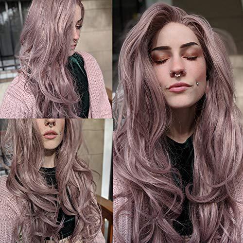 Fantasy Beauty Peluca de encaje de color rosa ceniza con encaje frontal de onda larga de pelo sintético peluca de repuesto para mujeres