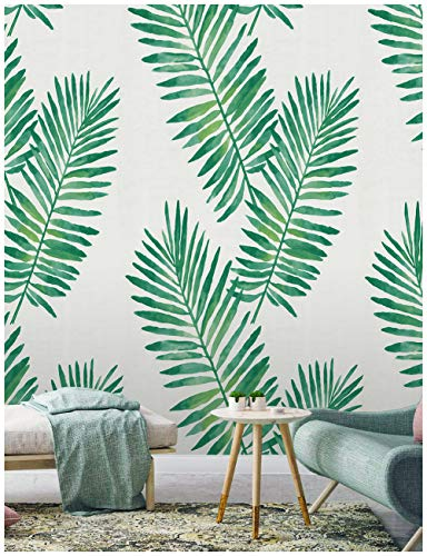 HaokHome 93024 Tropical Palm Peel and Stick Wallpaper Removable Green White Vinyl Self Adhesive 17.7in x 9.8ft