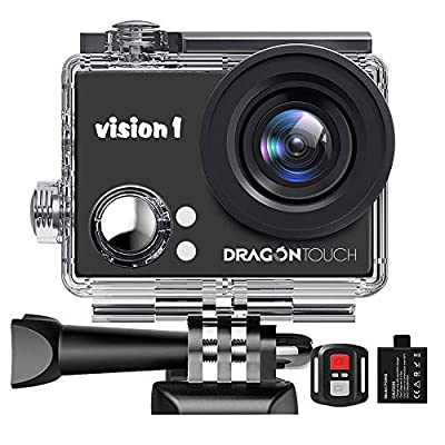 "Dragon Touch 1080P Action Camera 12MP Underwater Waterproof Camcorder with 2"" LCD Screen Remote Control and Mounting Accessories Kits Vision 1 by TabletExpress"