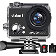 """Dragon Touch 1080P Action Camera, Underwater 98ft Video Sports Cam with 2"""" LCD Screen, Remote and Mounting Accessories Kits-Vision 1"""