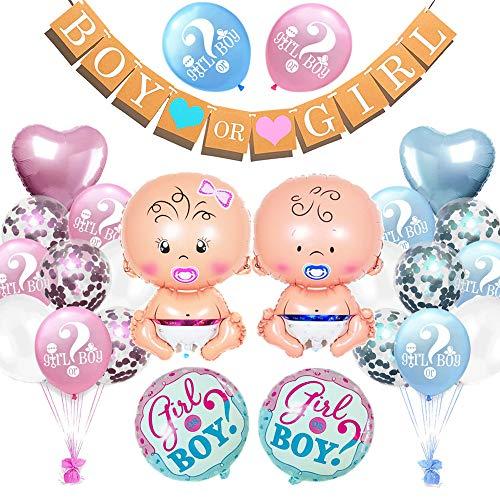 Geschlecht Offenbaren Party, Baby Dusche Girlande Dekoration, Junge und Mädchen Luftballons Baby Shower Gender Reveal Party Dekoration Konfetti & Baby Folienballon & Boy or Girl Banner