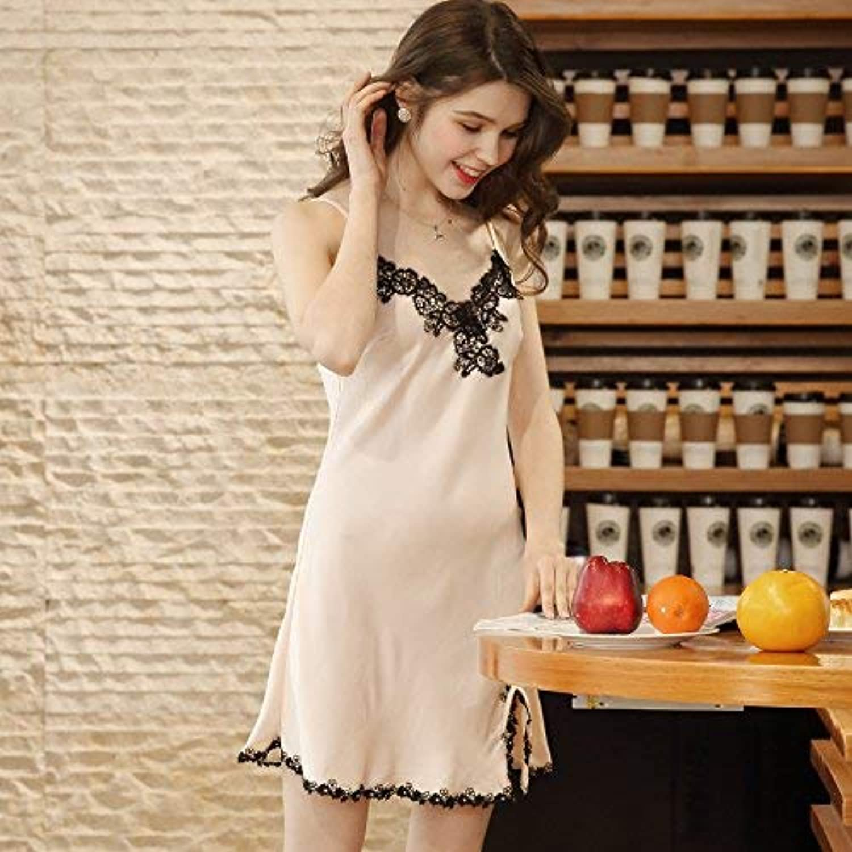 Cute Pajamas Spring Simulation Silk Ladies Suspenders Robe TwoPiece Home Service (color   Beige, Size   XL) Sexy Sleepwear (color   Beige, Size   XLarge)