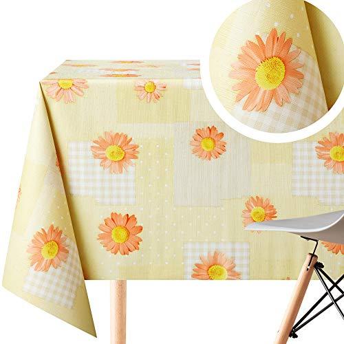 Tischdecke mit gelbem Patchwork-Muster und orangefarbenen Gänseblümchen, abwischbar, rechteckig, 250 x 140 cm, 8 Sitzplätze, wasserdicht, Vinyl, PVC, abwischbar, Kunststoff, gepunktet, Beige
