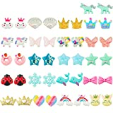 HaiMay 21 Pairs Clip on Earrings Girls Play Earrings for Party Favor, All Packed in Clear Boxes