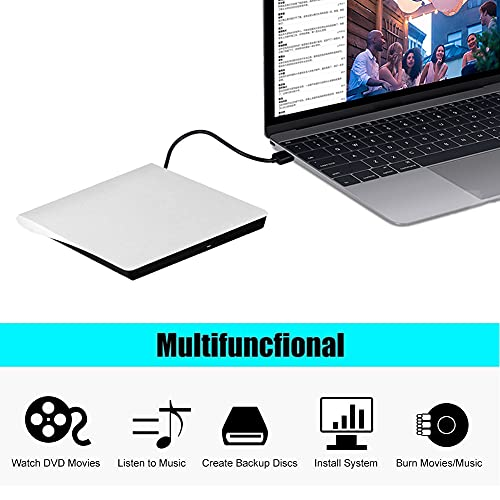 External DVD Drive, USB 3.0 Portable CD/DVD-RW Drive/ DVD Player for Laptop CD ROM Burner Compatible with Laptop Desktop PC Windows Linux OS Apple Mac White