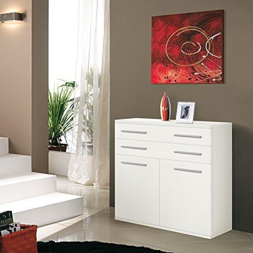 Valentini Nettuno Mobile 2 Ante e 2 Cassetti, Legno, Bianco, 36 x 80 x 82 cm