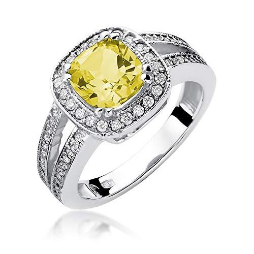Anillo para mujer de oro blanco 585 de 14 quilates, con piedras preciosas de citrino, diamantes brillantes